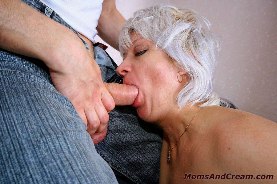 Older woman eating cum