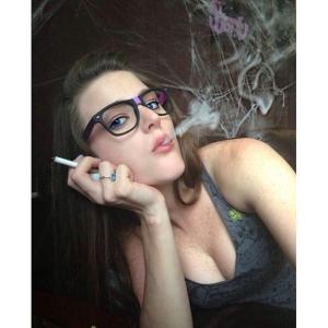 black girl smokes weed naked