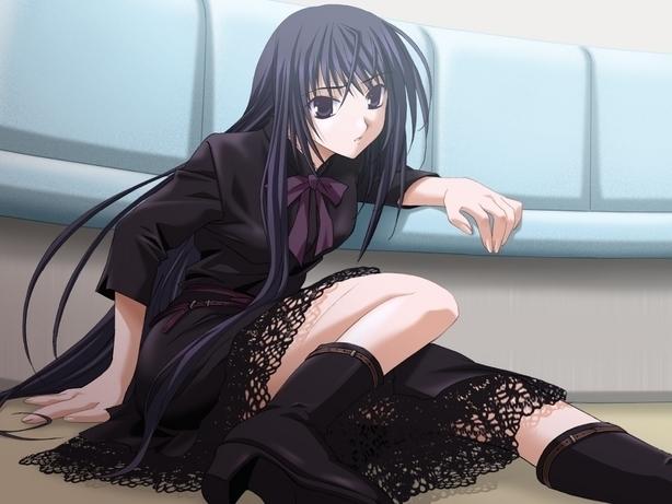 anime girl with black hair full size