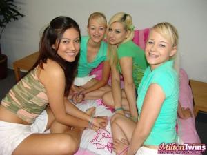 Blonde twin lesbian