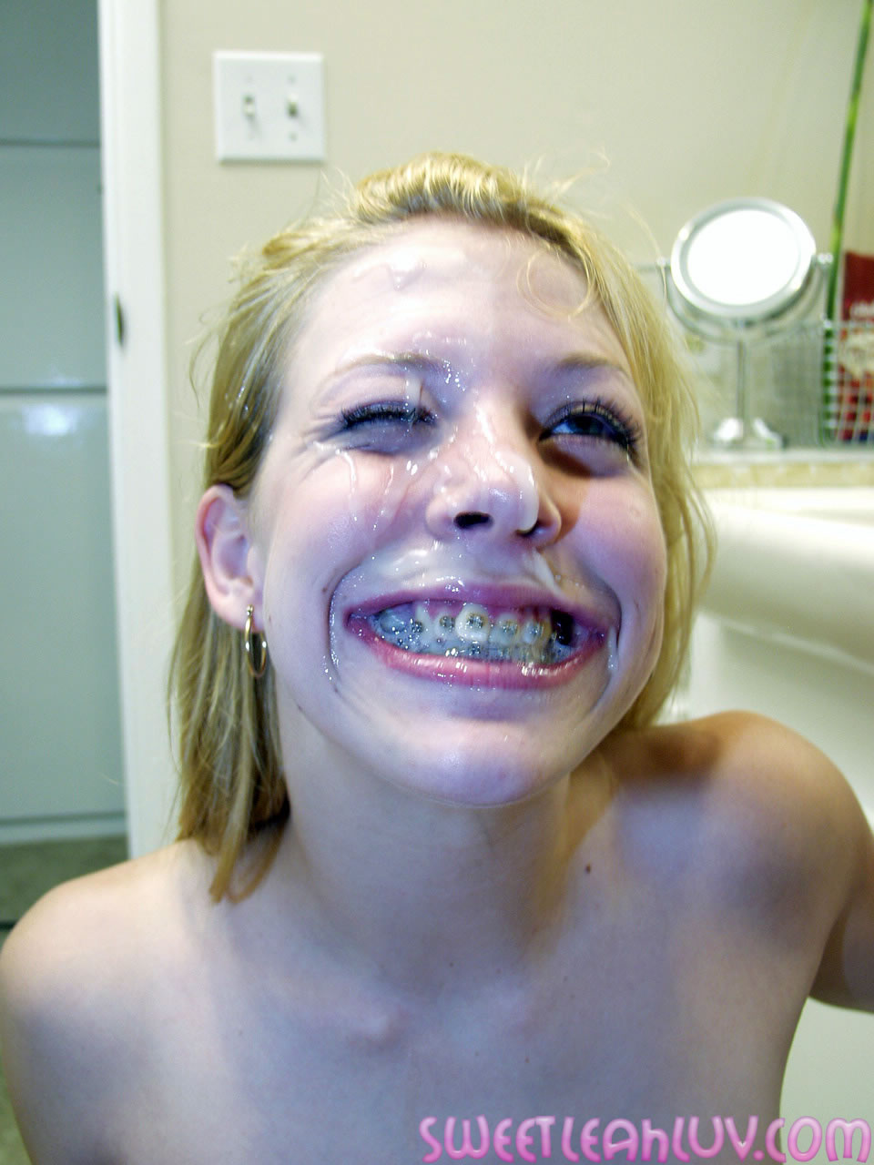 And Blonde with braces cum facial think