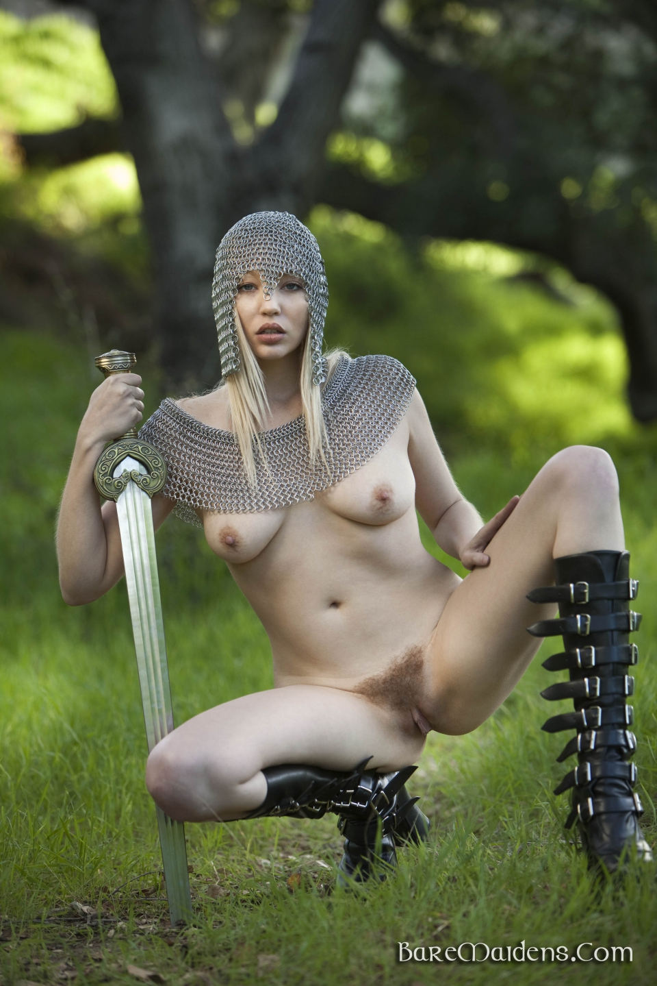 Cute dark skin female warrior sword nude  sex image