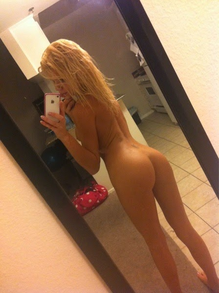 The Nude blonde girl mirror selfie Rather useful