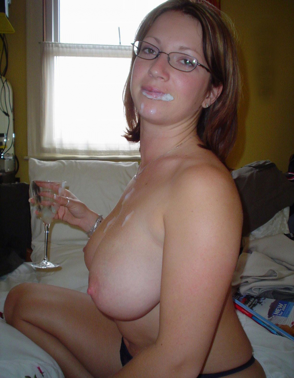 busty glasses cum amateur