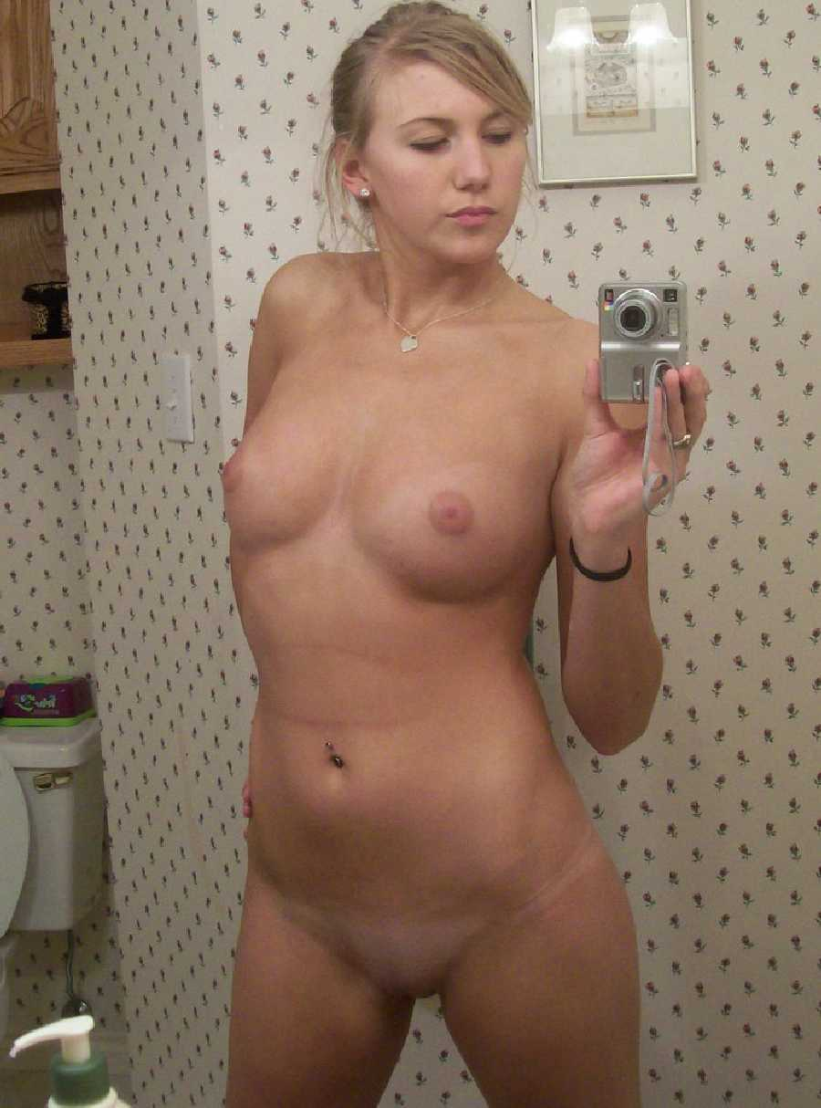 Slightly chubby naked blonde girls self
