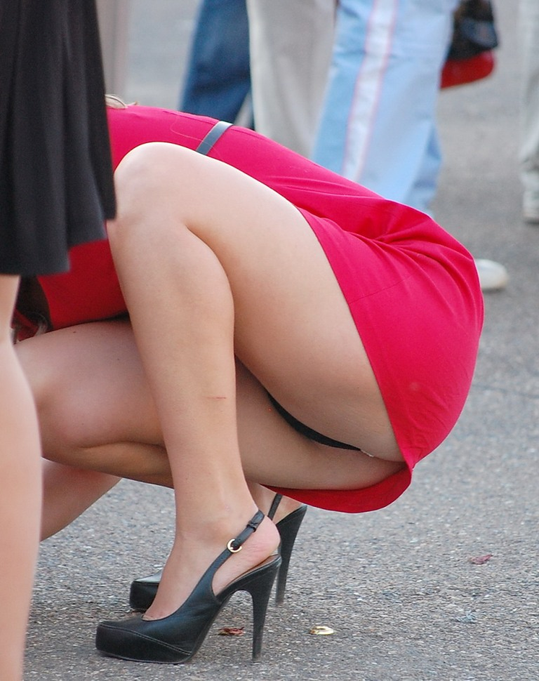 mini skirt bent over